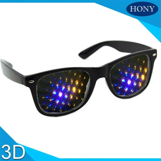 Rainbow Spiral Plastic 3d Diffraction Glasses For New Year Rave Parties