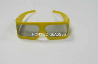 Yellow Plastic Frame Linear Polarized 3D Glasses Untuk Museum Tek
