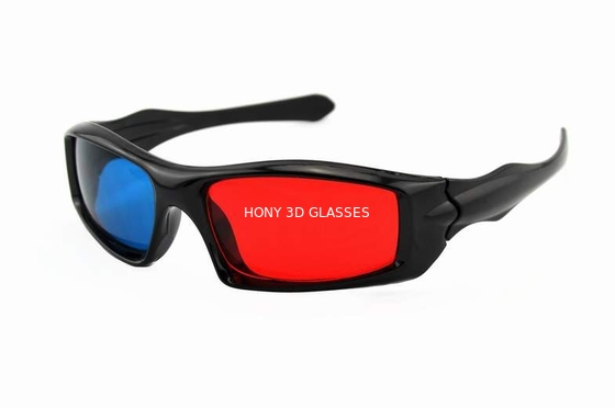 Cina Passive Plastic Red Cyan 3D Glasses , Anaglyph Red Blue Glasses Distributor